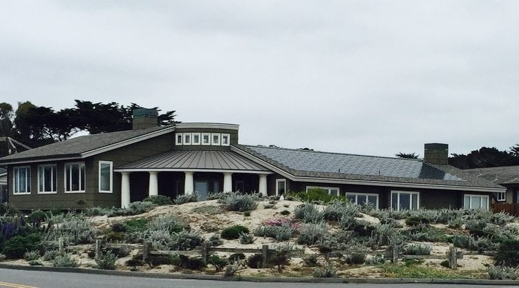 House on 17-Mile Drive in Pacific Grove that has stylish and practical in-tile solar panels. [2015]