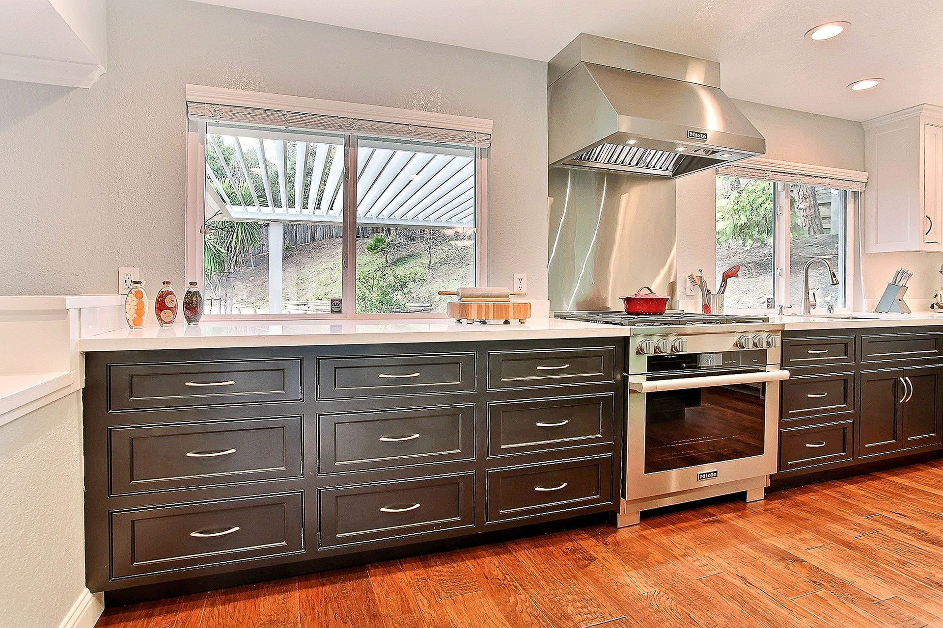 brown kitchen drawers