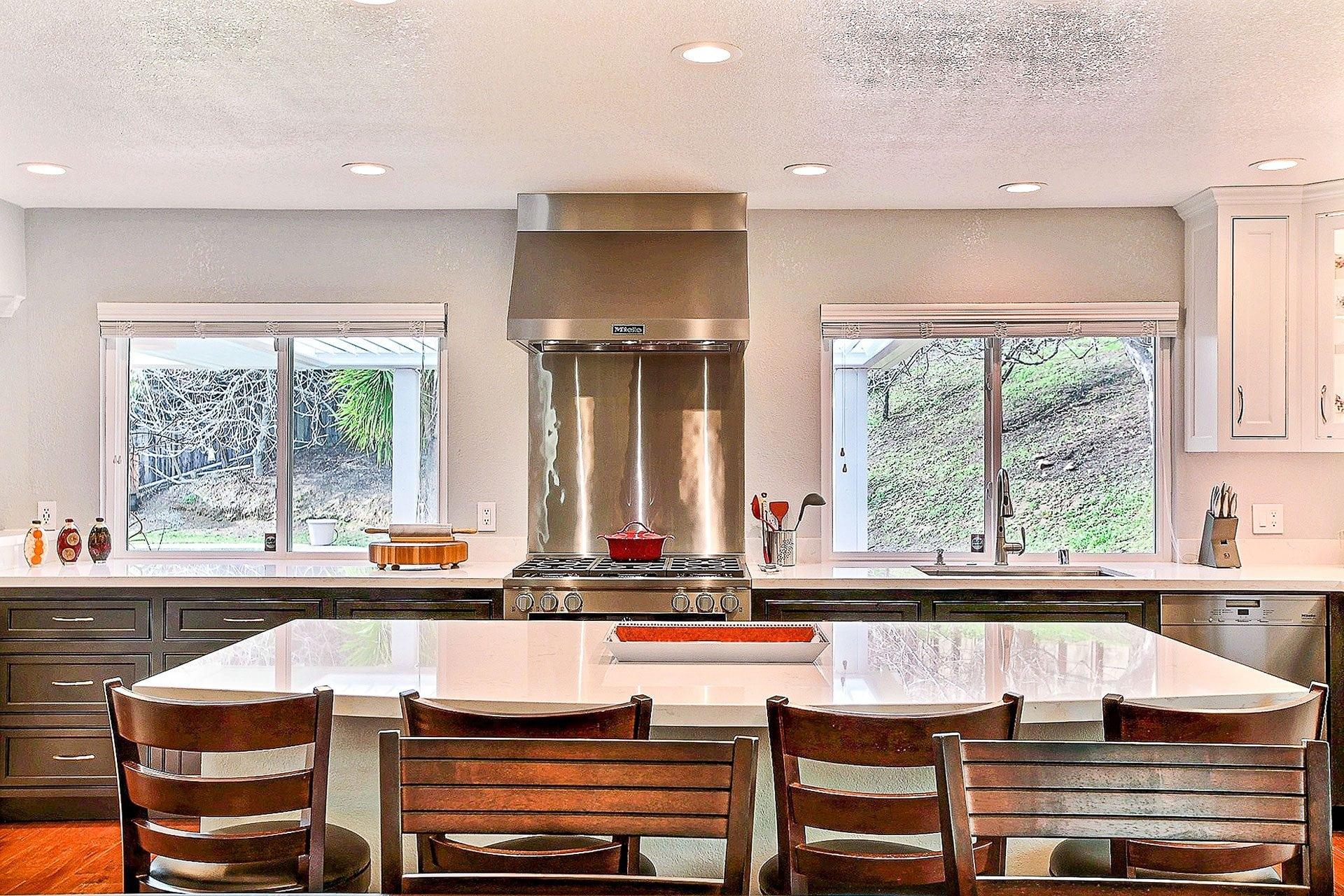 large white granite kitchen island