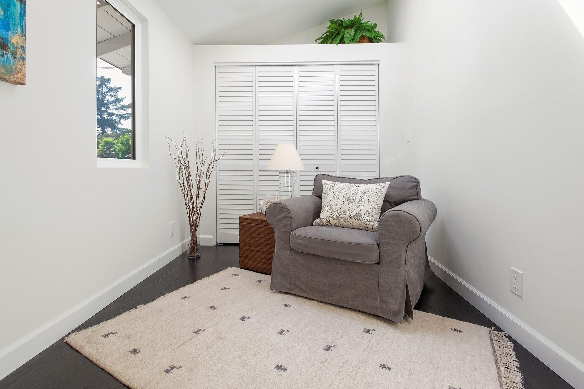 grey comfy chair