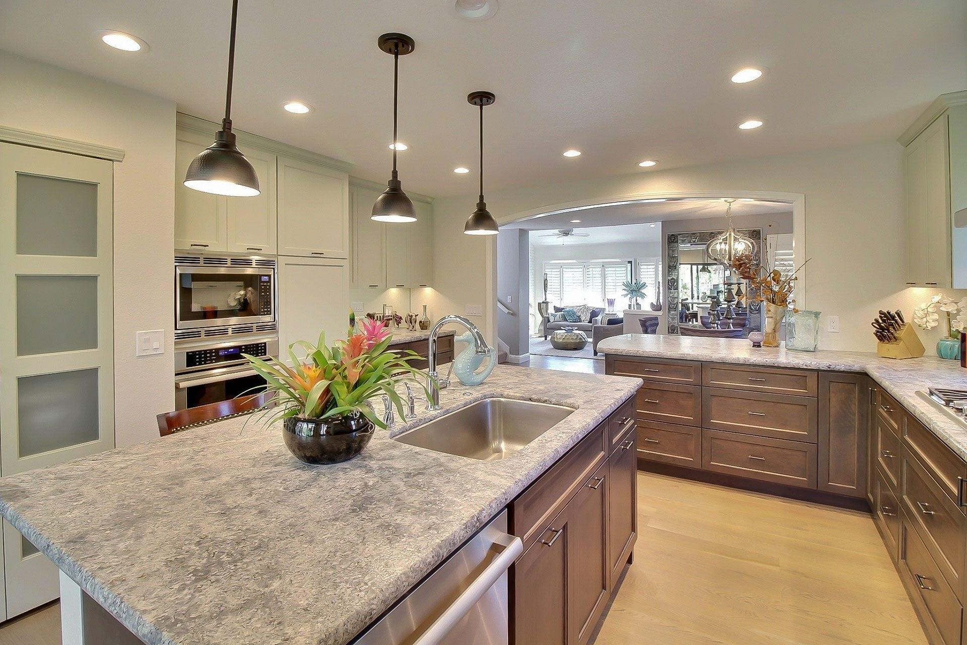 bright kitchen lights