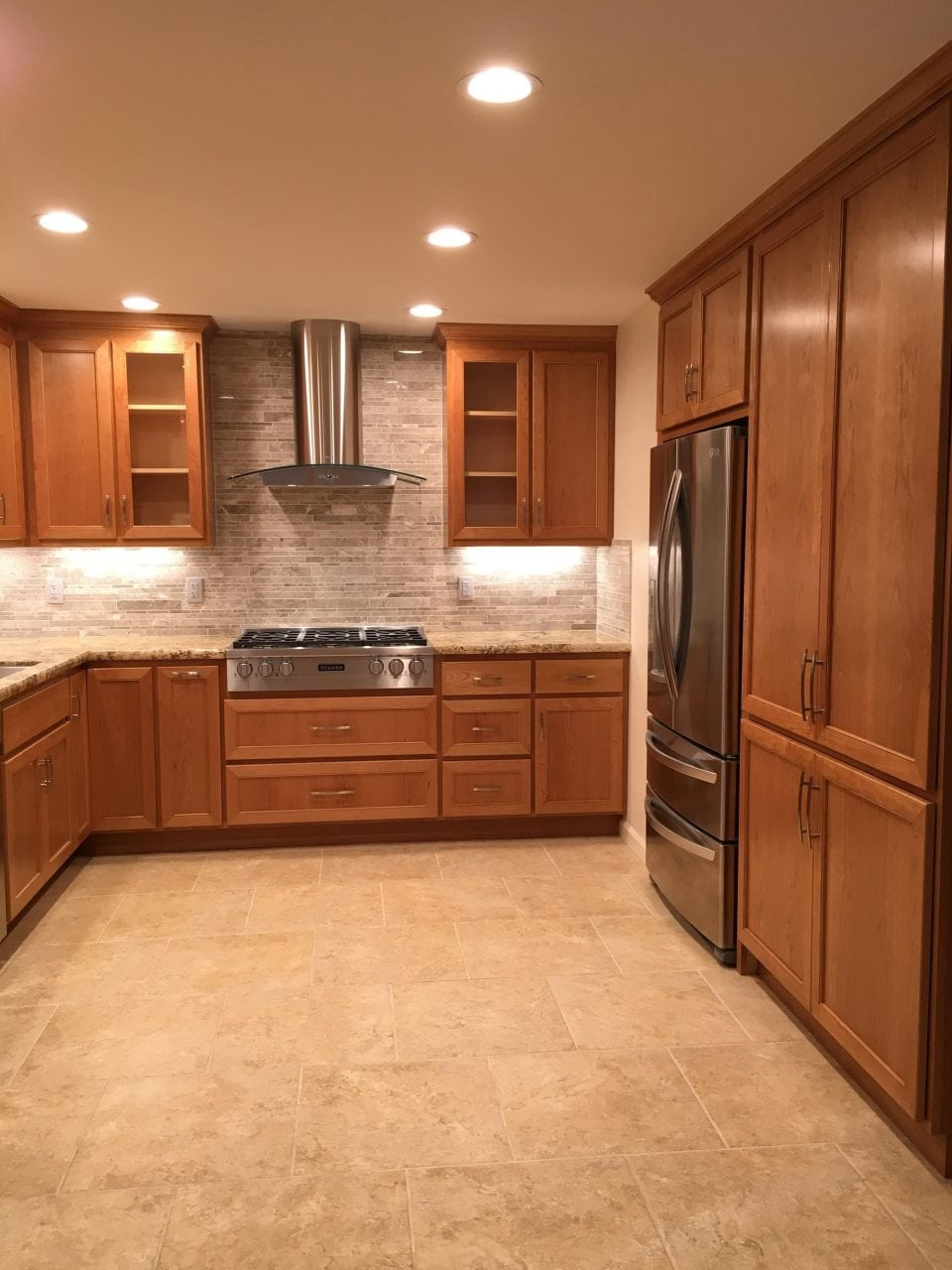 large wooden kitchen cabinets