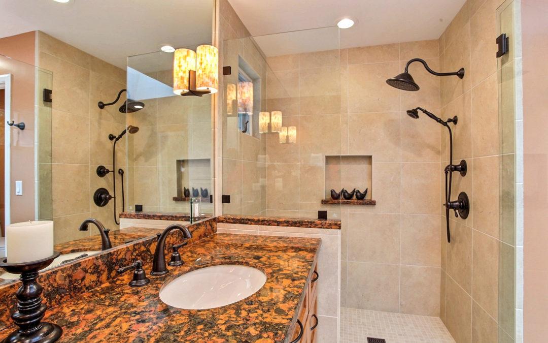 Bold & Warm Master Bathroom