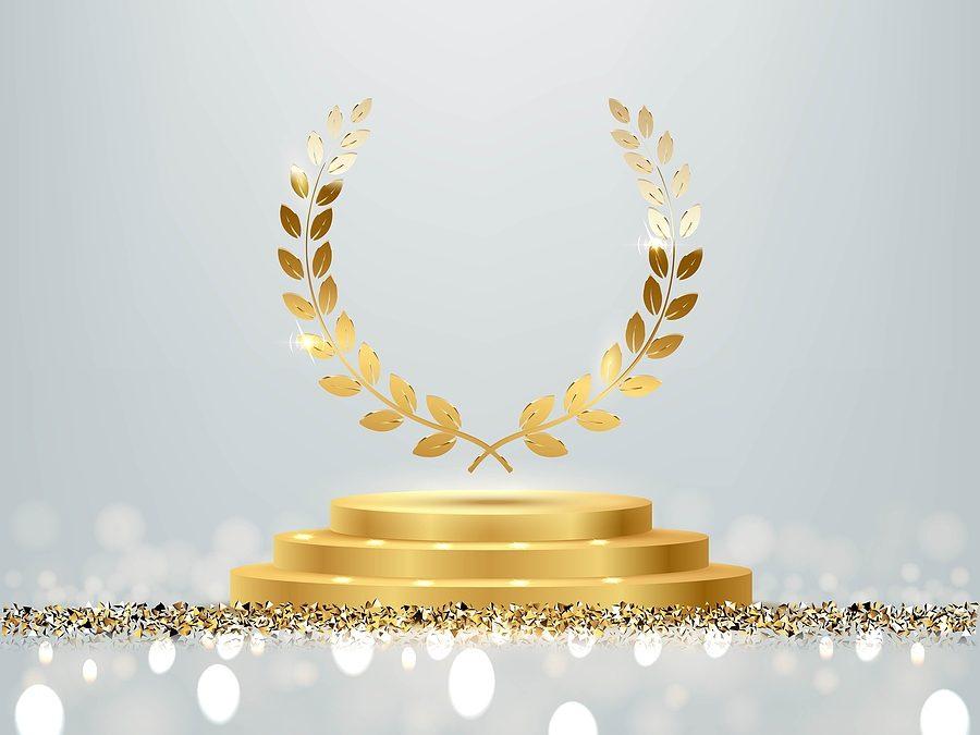 Golden Award Round Podium With Laurel Wreath, Shiny Glitter And